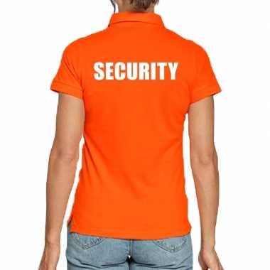 Security poloshirt oranje voor dames