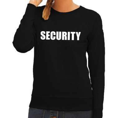 Security tekst sweater / trui zwart voor dames
