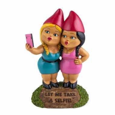 Selfie zussen tuin gnoom 23 cm
