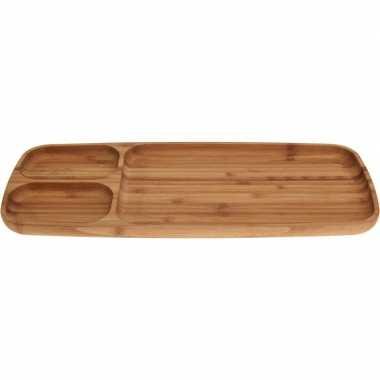 Serveer nootjes/chips plank bamboe 38 cm