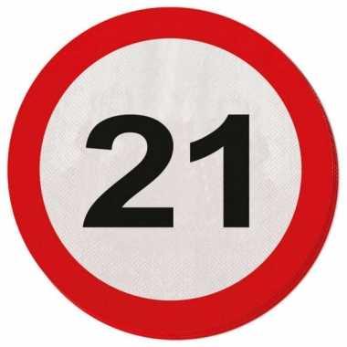 Servetjes 21 jaar verkeersbord
