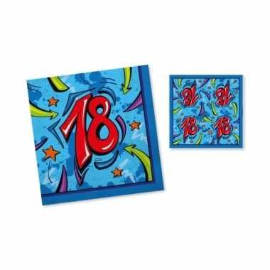 Servetten 18 jaar 33 cm blauw