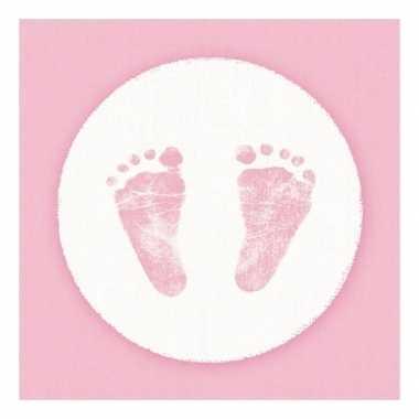 Servetten babyshower thema roze/wit 3-laags 20 stuks