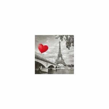 Servetten eiffeltoren met hart 33 cm