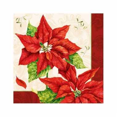 Servetten met kerstbloemen print 33x33 cm
