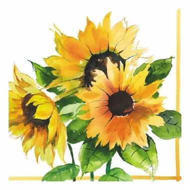 Servetten met zonnebloemen print 33x33 cm