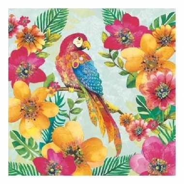 Servetten papegaaien print 3-laags 20 stuks