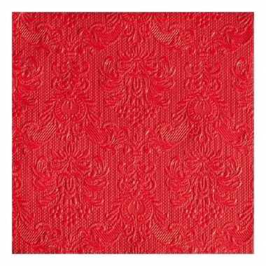 Servetten rood barok 3-laags 15 stuks