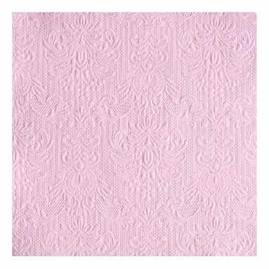 Servetten roze barok 3-laags 15 stuks