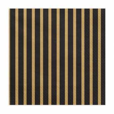 Servetten zwart/goud 20 stuks 33 cm