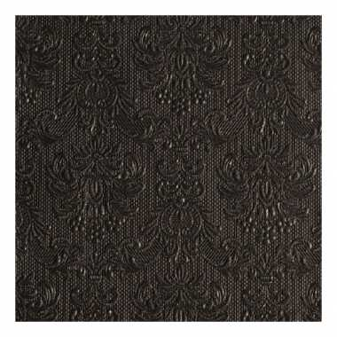 Servetten zwarte barok 3-laags 15 stuks