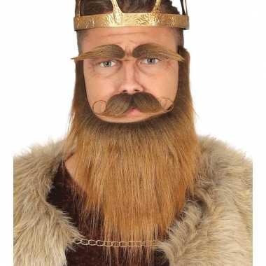 Set met baard, snor en wenkbrauwen bruin