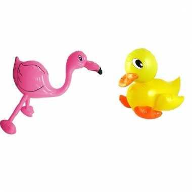Set opblaasbare badeend geel en roze flamingo