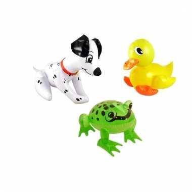 Set opblaasbare dalmatier hond groene kikker en gele eend