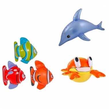 Set opblaasbare decoratie 3 vissen 1 dolfijn en 1 krab