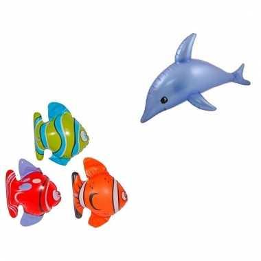 Set opblaasbare decoratie 3 vissen 1 dolfijn