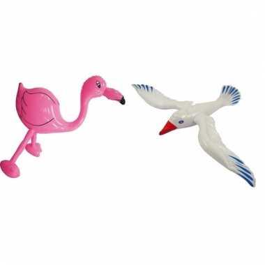 Set opblaasbare flamingo roze en meeuw