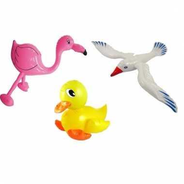 Set opblaasbare meeuw badeend geel en roze flamingo