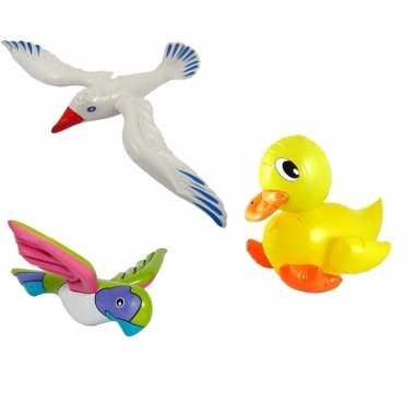 Set opblaasbare meeuw badeend geel en roze papegaai