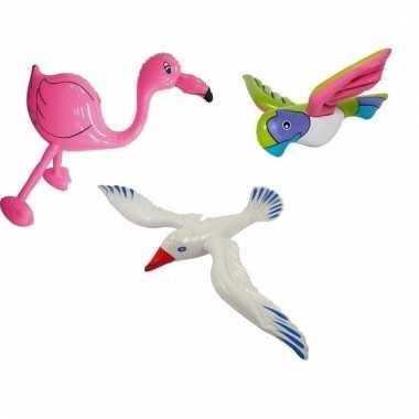 Set opblaasbare meeuw flamingo roze en roze papegaai