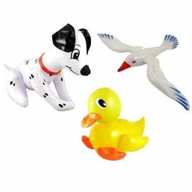 Set opblaasbare witte meeuw dalmatier hond en gele eend