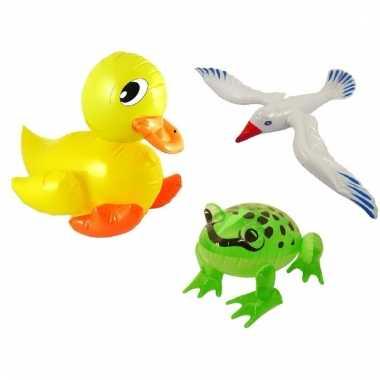 Set opblaasbare witte meeuw groene kikker en gele eend