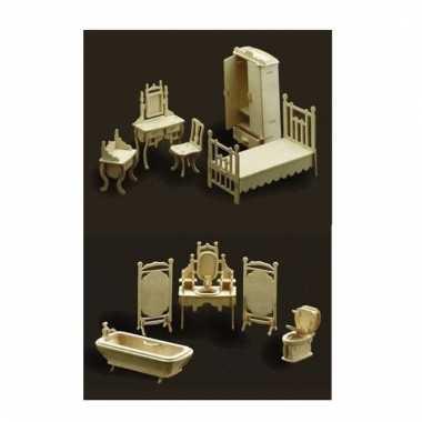 Set poppenhuis meubeltjes slaapkamer en badkamer