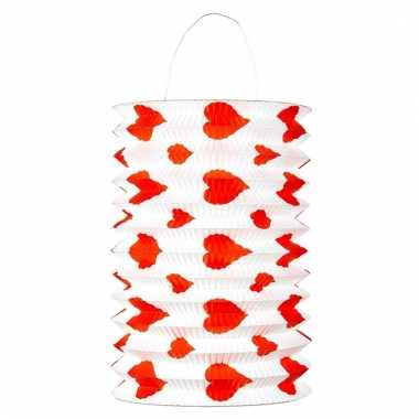 Set rood/witte lampion met hartjes