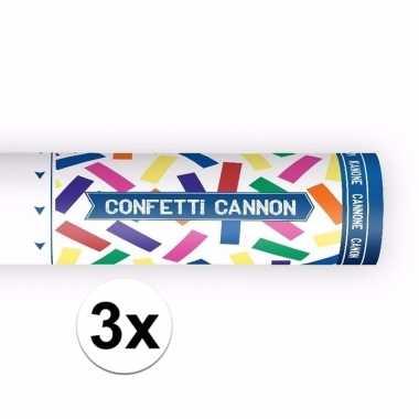 Set van 3x confetti knaller kleuren 20 cm