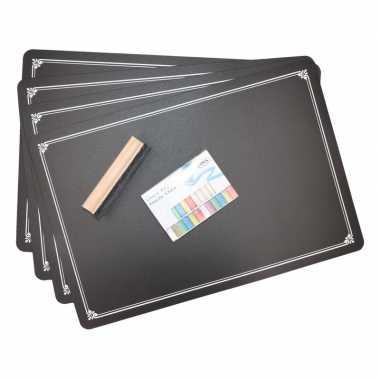Set van 4 placemats met krijtbordlaag incl. krijtjes en wisser
