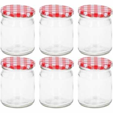 Set van 6 glazen weckpotjes