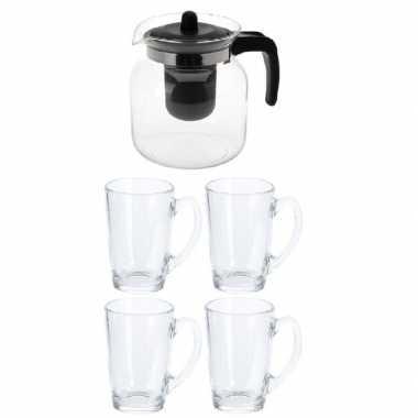Set van een theepot met 4 glazen