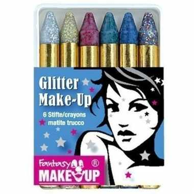 Setje van 6 glitter schmink stiften