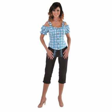 Sexy blauwe blouse met blote schouders