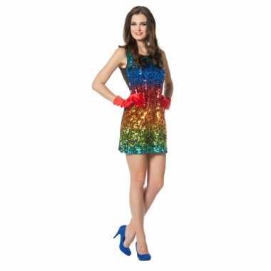 Sexy glitter amesjurk regenboog