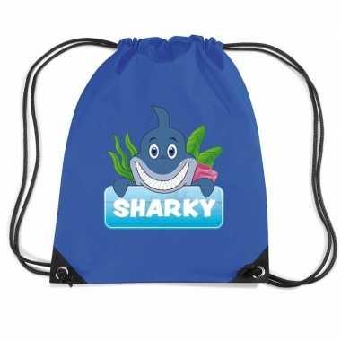 Sharky de haai rugtas / gymtas blauw voor kinderen