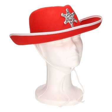Sheriff cowboyhoed rood/wit voor kids