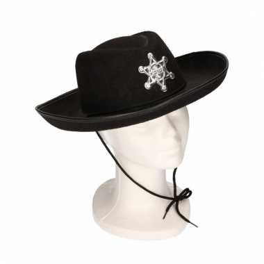 Sheriff cowboyhoed zwart voor kids