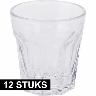 Shotjes glazen setje van 12x stuks