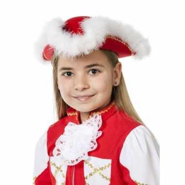 Showdans hoedje voor meiden rood met wit