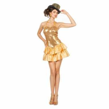 Showgirl jurkje met pailletten voor dames goud