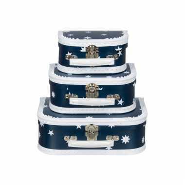 Sieraad koffertje blauw ster 16 cm