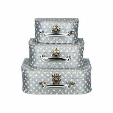 Sieraad koffertje zilver ster 16 cm