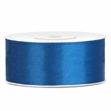 Sierlint satijn 25 meter lang kobalt blauw
