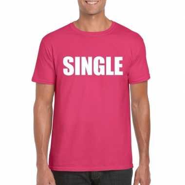 Single/ vrijgezel tekst t-shirt roze heren