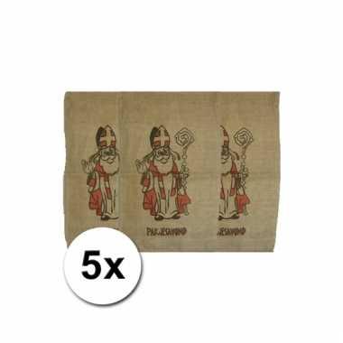 Sinterklaas jute zakken 60 x 102 cm 5 stuks