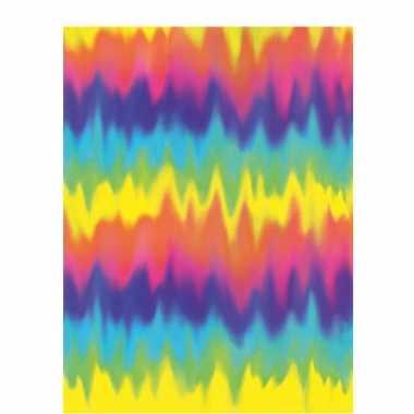 Sixties tie dye tafelkleed van plastic