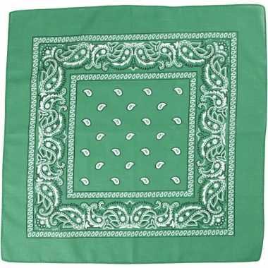 Sjaal donkergroen met print