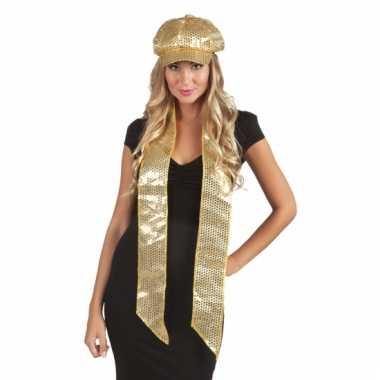 Sjaal met gouden glitter pailletten