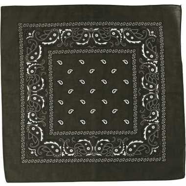 Sjaal olijfgroen met print